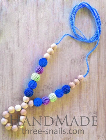 Teething Necklace For Mom Blue Shades - Toy