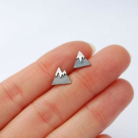Tiny Silver Studs - Mountains - Earrings