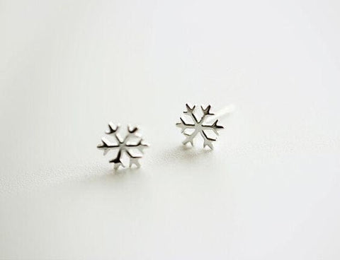 Tiny Silver Studs - Snowflakes - Earrings