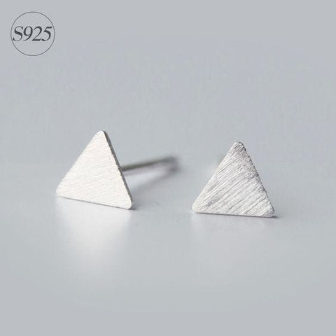 Tiny Silver Studs - Triangles - Earrings