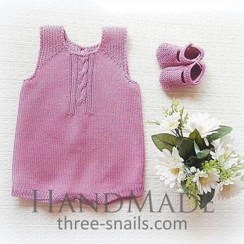 Toddler Knitted Romper And Booties Set - Baby Clothes