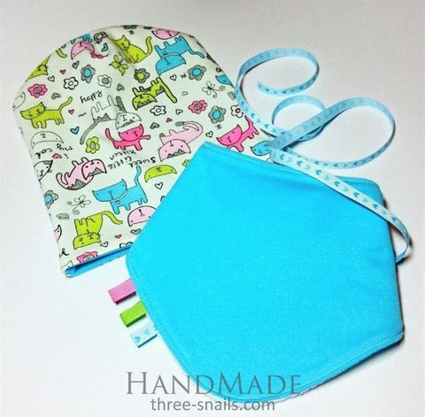 Turquoise Baby Hat And Bib Kitty - Baby Clothes