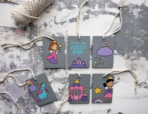 Unicorn And Princess Wooden Hanging Set - Sign