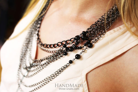 Unusual Necklaces. Large Chain Necklace Vogue Black - Vasylchenko1