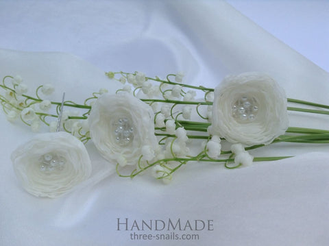 Wedding Hair Accessories. Hairpin White Roses - Vasylchenko1