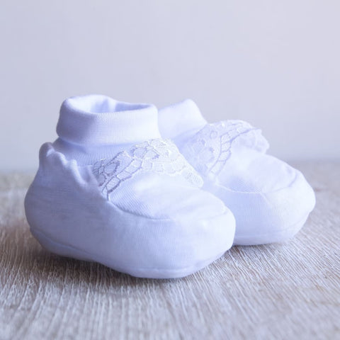 White Baby Booties - Baptism Accessory