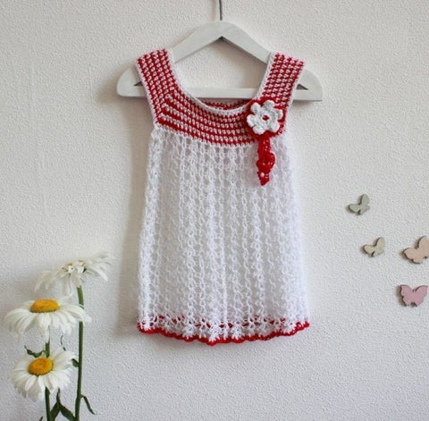White Crochet Dress Flower - Baby Clothes