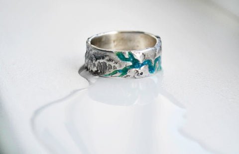 Wide Silver Ring Deep River - Vasylchenko1