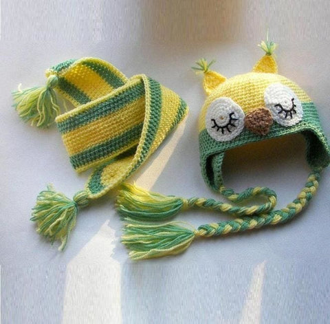 Winter Accessory Children Set. Crocheted Hat And Scarf Green Owl - Baby Clothes