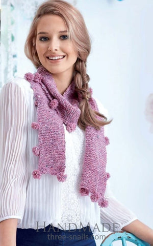 Women Knitted Scarf With Pom Poms - Popovichenko