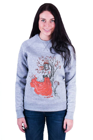 Womens Designer Clothing. Sweatshirt «Guelder Rose» (Grey) - Vasylchenko1