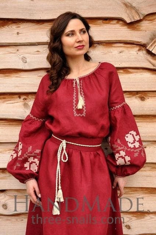 Womens Embroidered Dress Rose Wine - Vasylchenko1