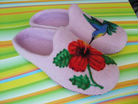 Womens House Slippers Blue Hummingbird - Vasylchenko1