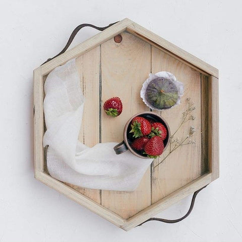 Hexagon Wood Serving Tray