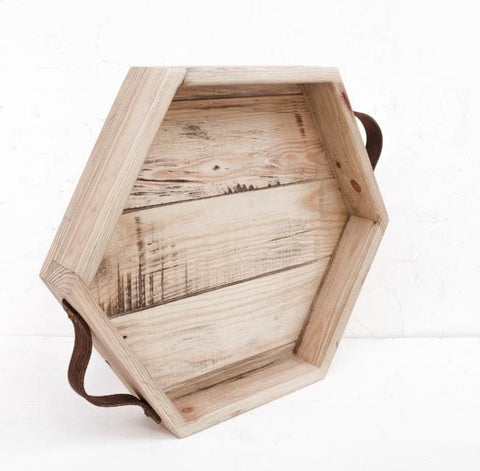 Wood Serving Tray Hexagon - Tray