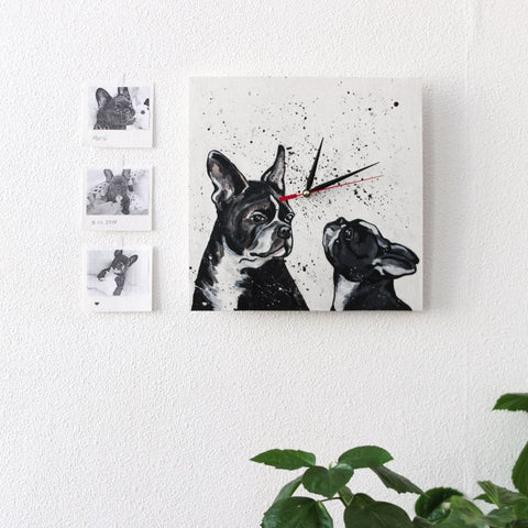 Wooden Wall Clock Bulldog - Clock