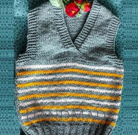 Wool Knitted Vest For A Child Clouds And The Sun - Baby Clothes