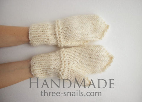 Wool Mittens Cream - Baby Clothes