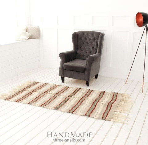 Woven Hallway Runner Rug Red Stripes - Rug