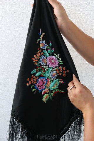 Wrap Shawl Flower Embroidery - Vasylchenko1