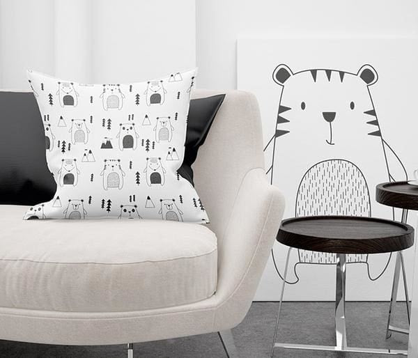 black and white animal pillow