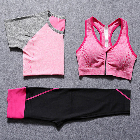 Women Fitness Yoga Set  - T-Shirt, Bra & Cropped Trousers