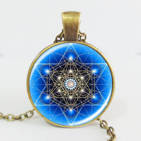 Blue Mandala Art Necklace / Zen Pendant Charms /Glass cabochon Necklace/ Yoga Jewelry/ lucky amulet