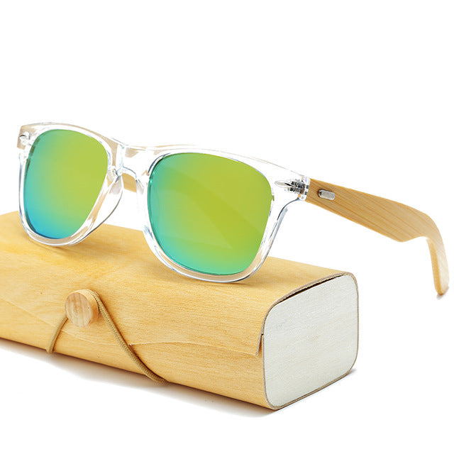Fashionable Mens/Womens Bamboo Sunglasses with square shaped HD lenses and Handmade Wooden Case