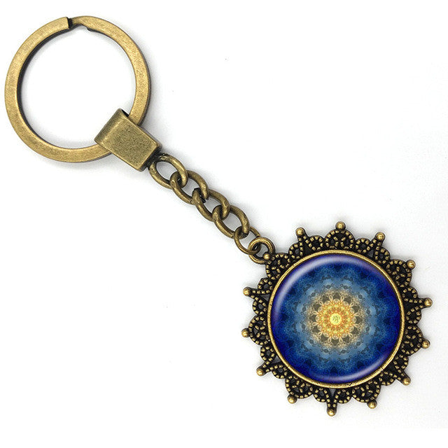 Mandala Picture Key Ring/Flower of Life Chakra - Sacred Geometry Art Glass Cabochon