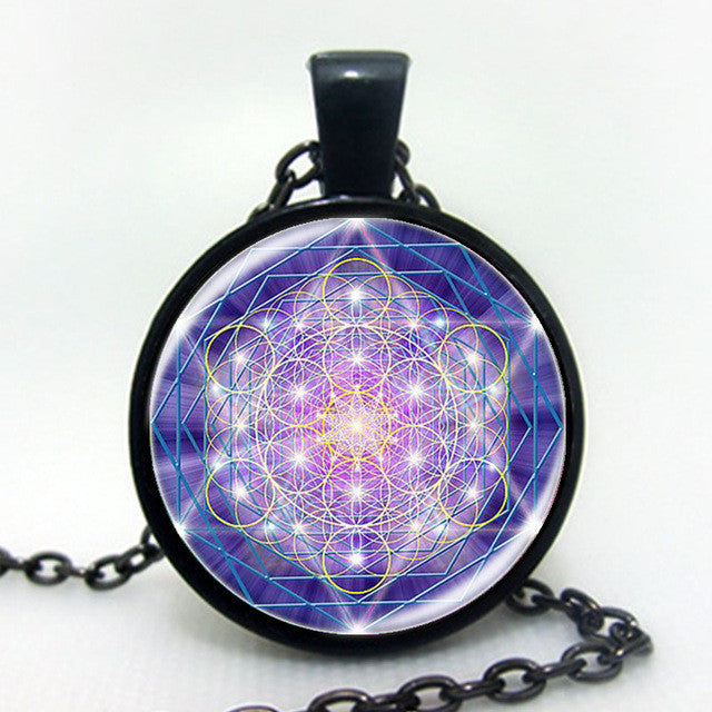 Fashion cabochon bronze glass pendant / Multicolor flower of life yoga necklace