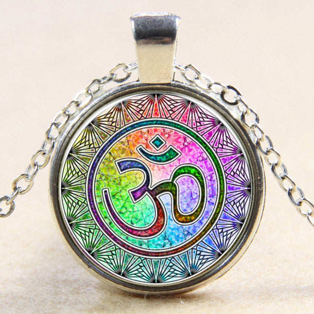 Rainbow Yoga OM Pendant Necklace Fashion Round Ethnic Silver Plated Colorful Murano Glass Jewelry