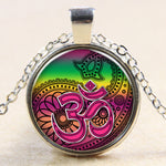 Lotus Yoga OM Pendant - Round Ethnic Silver Plated glass dome