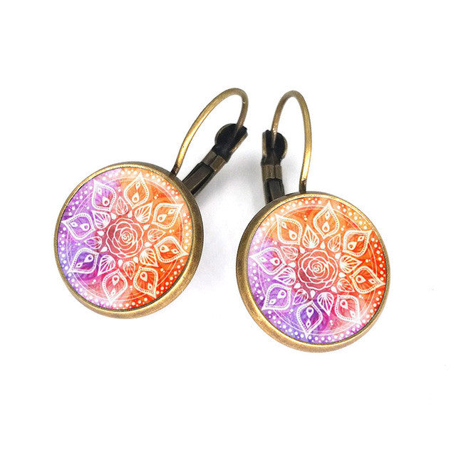 16 mm glass cabochon earrings mandala lotus earrings om symbol buddhism zen