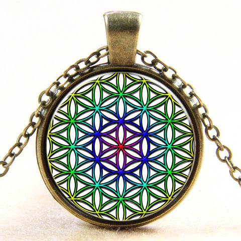 Colorful Flower Of Life OM pendant necklace - mandala jewelry Yoga necklaces