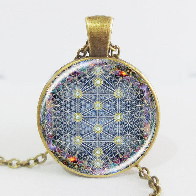Newest OM pendant necklace flower of life jewelry - mandala statement necklace  - Yoga/Zen jewellery