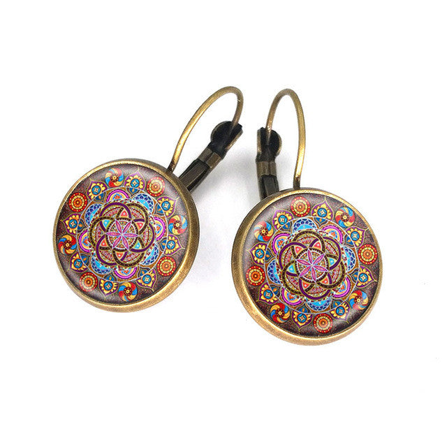 16 mm glass cabochon lotus mandala earrings with om symbol