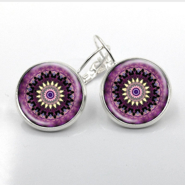 Yoga Jewelry Earrings Om Symbol - Mandala Flower Earrings - handmade with Glass and antique bronze/silver plated