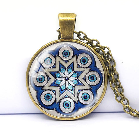 Silver Plated Om Mandala Necklace with Blue Kaleidoscope - Yoga Jewelry