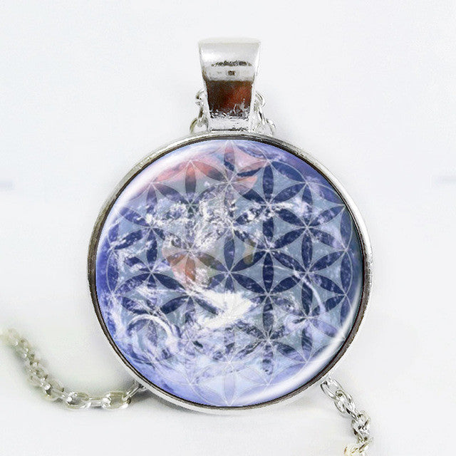 Blue OM pendant /necklace - flower of life jewelry /mandala statement necklace