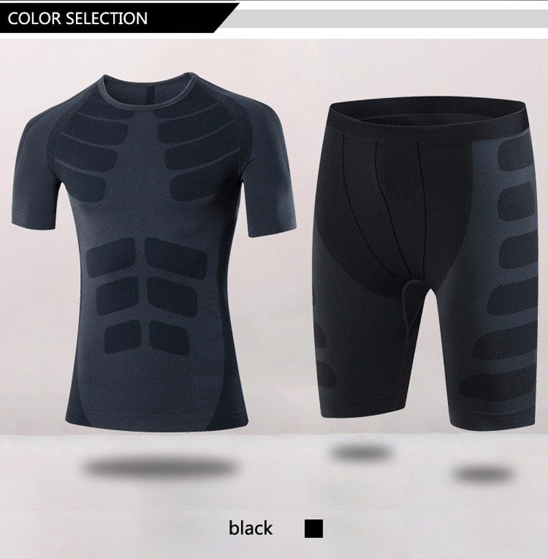 Compression Tights  + Fitness Short Sleeve Shirt  with Quick Dry, Wicking Features