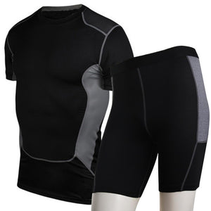 Mens Compression Fitness Tights +  Quick Dry Gym SportsT-Shirt