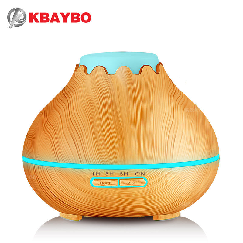 400ml Air Humidifier Essential Oil Diffuser Aroma Lamp Aromatherapy Electric Aroma Diffuser Mist Maker for Home-Wood