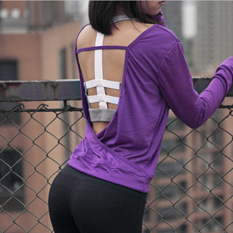 Womens fashionable, Hollow-out back Designed Yoga Top
