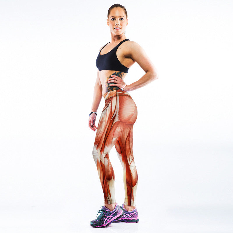 Yoga Pants with a 3D Human Muscle Print