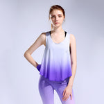 Women Yoga T-Shirt/ Fitness Yoga Vest in Gradient Colors