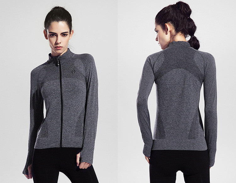 High Collared, Long-sleeved, Stretchy Yoga Top