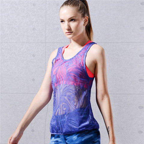 Women Yoga Top - Athleisure wear with designer embroidery and hollow back