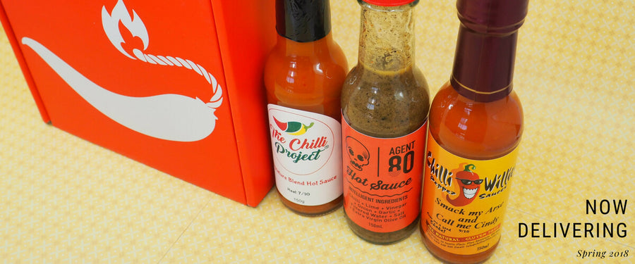 ChilliBOM Red Box Spring 2018 The Chilli Project Agent 80 Chilli Willies Carolina reaper hot sauce club pepper sauce
