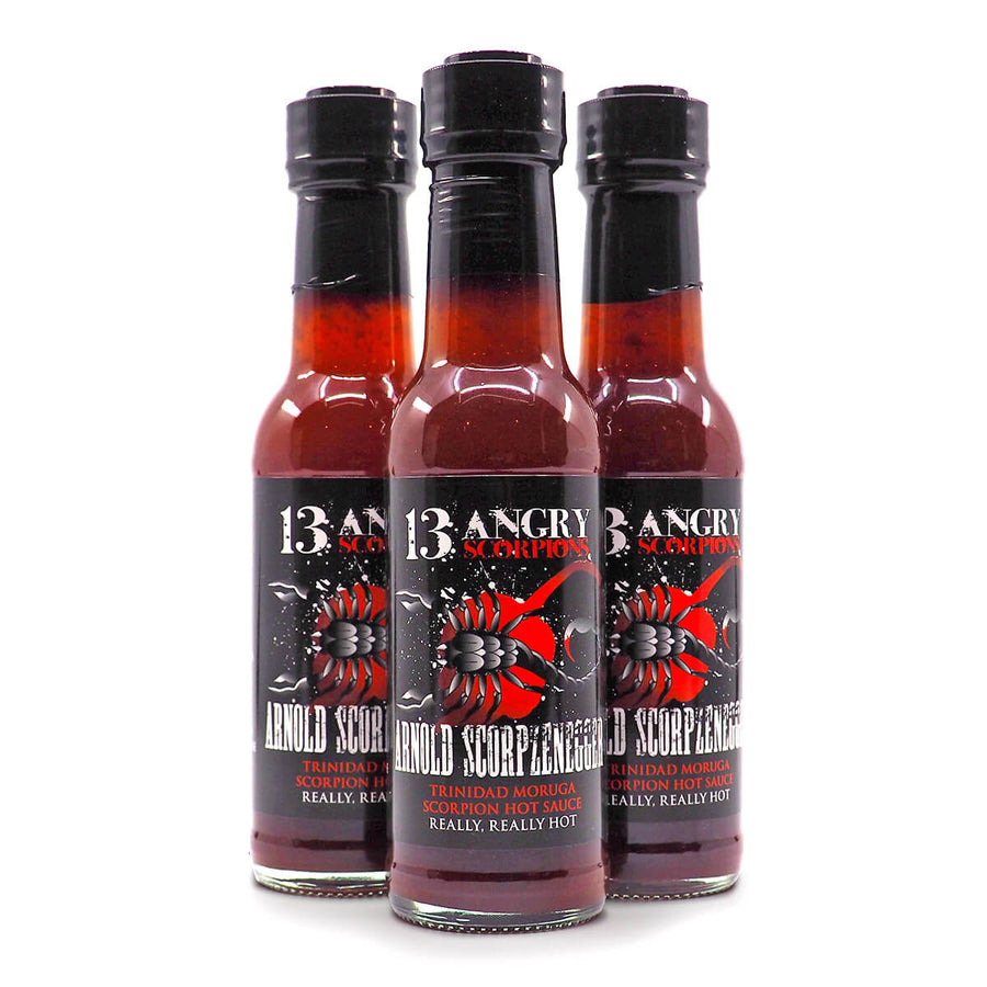 13 Angry Scorpions Arnold Scorpzenegger Hot Sauce 150ml group ChilliBOM Hot Sauce Club Australia Chilli Subscription Gifts SHU Scoville