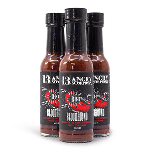 13 Angry Scorpions Bloodhound Hot Sauce 150ml ChilliBOM Hot Sauce Store Hot Sauce Club Australia Chilli Sauce Subscription Club Gifts SHU Scoville group matshotshop